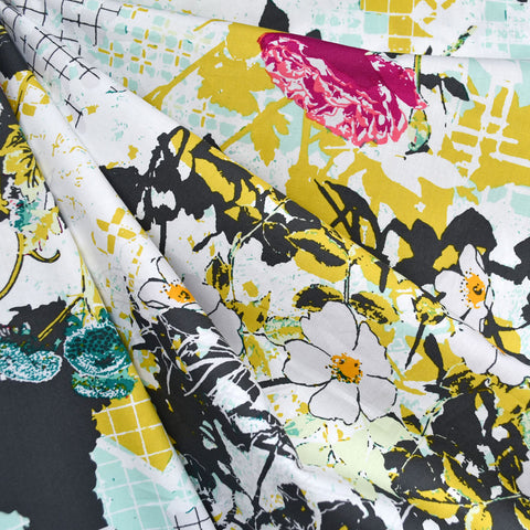 Framework Floral Collage Pima Cotton Citron
