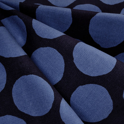 Japanese Polka Dot Corduroy Shirting Navy