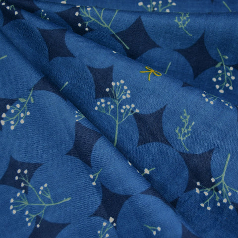 Japanese Paper Flower Double Gauze Navy