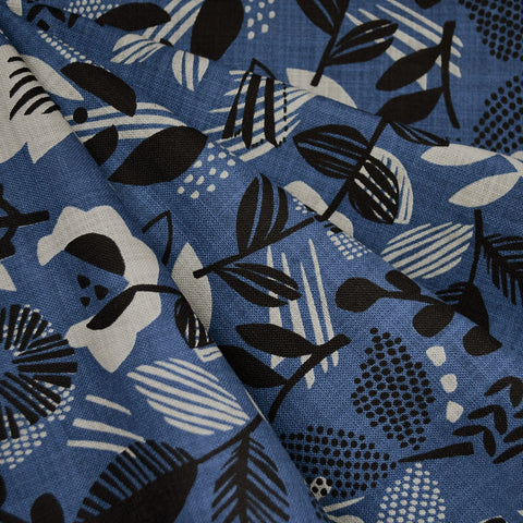 Japanese Scandi Floral Textured Cotton Blue