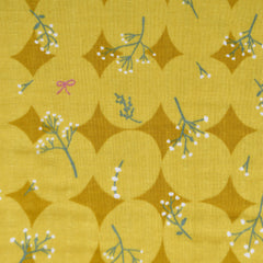 Japanese Paper Flower Double Gauze Yellow - Fabric - Style Maker Fabrics