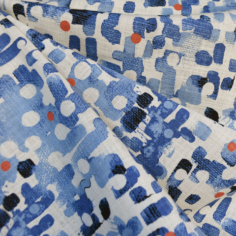 Japanese Abstract Brushstroke Barkcoth Blue/Cream