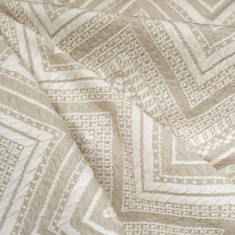 Chevron Jacquard Cotton Double Knit Cream
