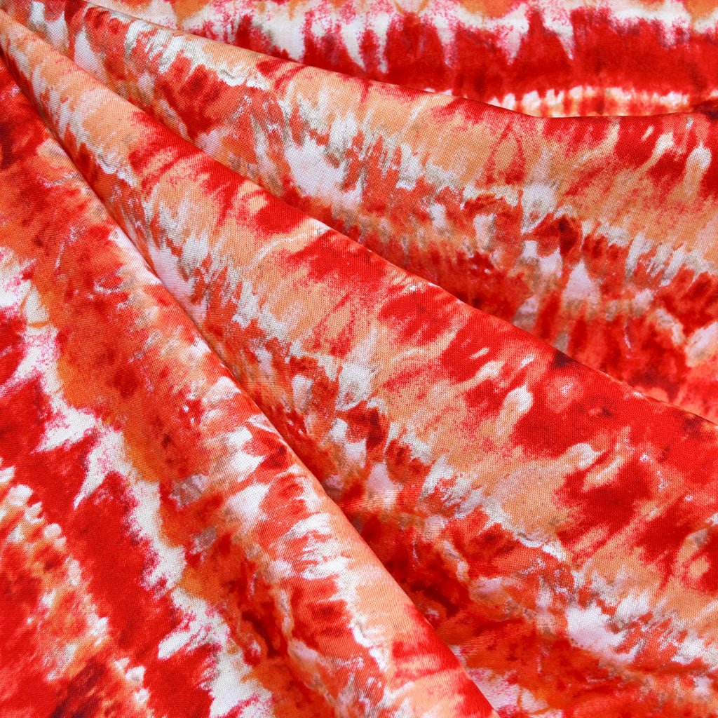 Watercolor Stripe Rayon Challis Coral/Red - Fabric - Style Maker Fabrics