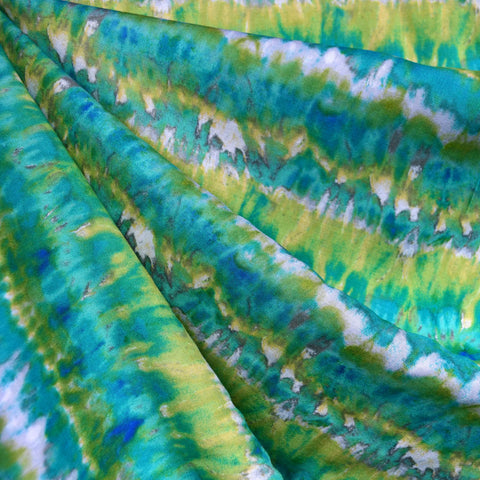 Watercolor Stripe Rayon Challis Aqua/Lime
