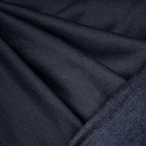 Soft Cotton Terry Velour Solid Navy