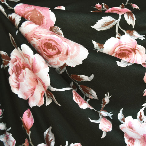 Romantic Rose Rayon Jersey Black/Blush