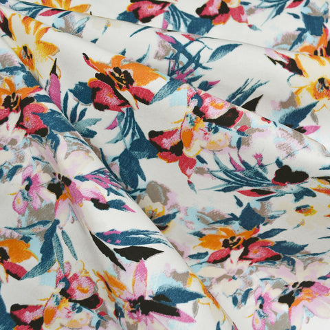 Watercolor Tropical Floral Tencel Twill Vanilla