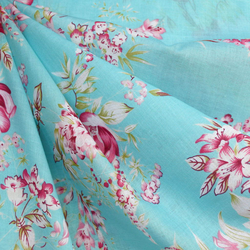 Romantic Vintage Floral Cotton Voile Aqua - Sold Out - Style Maker Fabrics