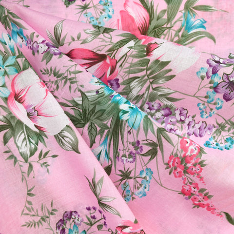 Romantic Vintage Floral Cotton Voile Pink