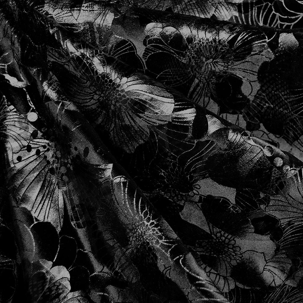 Tonal Floral Embossed Stretch Velvet Black SY - Sold Out - Style Maker Fabrics