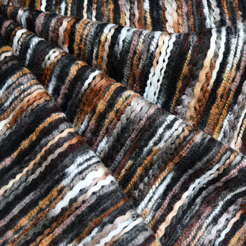 Chunky Stripe Novelty Coating Brown/Black