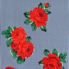 Romantic Rose Stripe Shirting Navy/White - Sold Out - Style Maker Fabrics