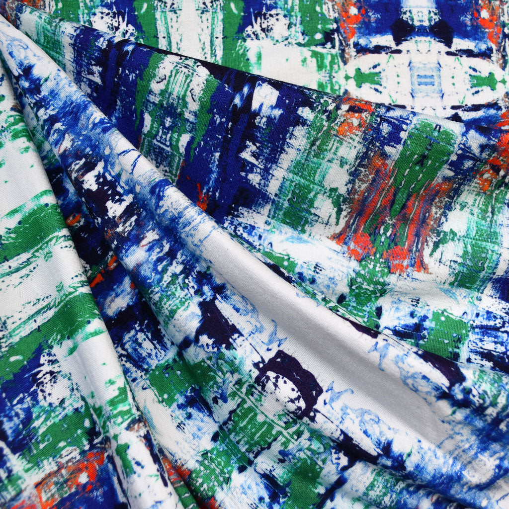 Abstract Art Digital Print Rayon Jersey Royal/Emerald - Fabric - Style Maker Fabrics