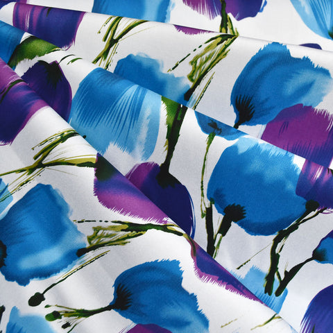 Brushstroke Tulip Stretch Sateen Blue/Purple