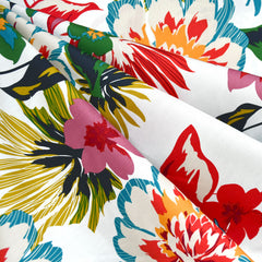 Layered Graphic Tropical Floral Poplin Shirting White/Multi - Fabric - Style Maker Fabrics