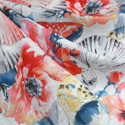 Seaside Floral Digital Print Linen Shirting Coral/Navy