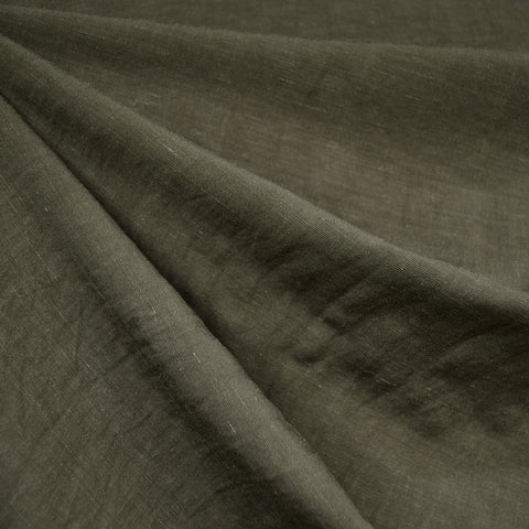 Linen Blend Textured Solid Shirting Olive