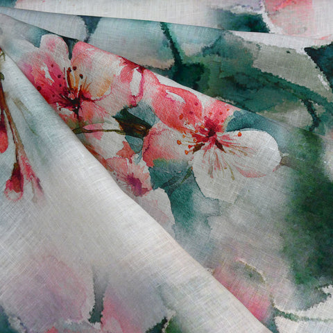 Watercolor Cherry Blossom Digital Print Linen Shirting Coral/Jade
