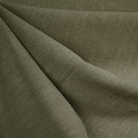 Slub Texture Linen Blend Solid Olive SY