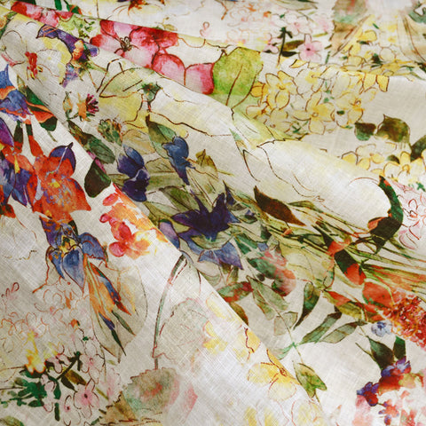 Botanical Sketch Watercolor Digital Print Linen Shirting Cream