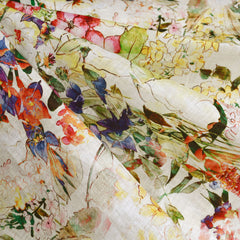 Botanical Sketch Watercolor Digital Print Linen Shirting Cream - Sold Out - Style Maker Fabrics