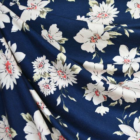 Romantic Floral Outline Rayon Jersey Navy/Blush