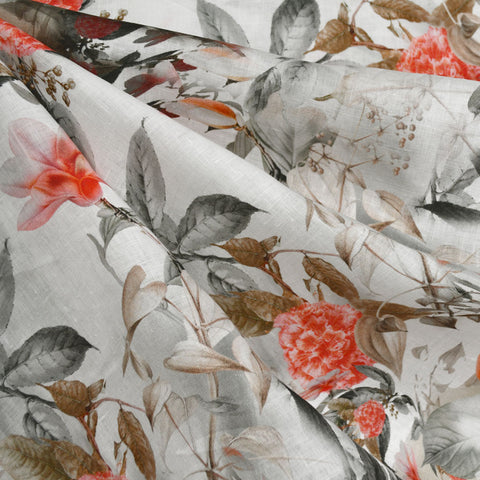 Distressed Tonal Floral Digital Print Linen Shirting Cream/Coral