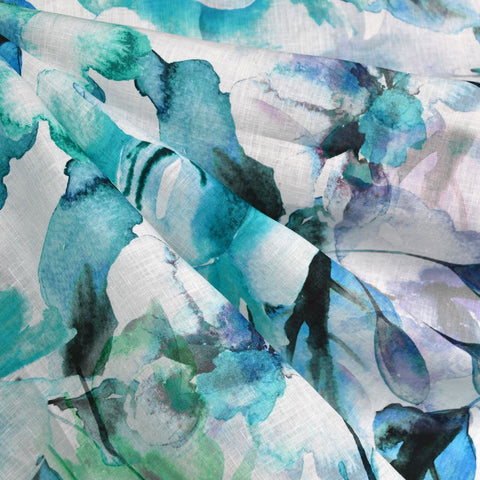 Abstract Watercolor Floral Digital Print Linen Shirting Aqua