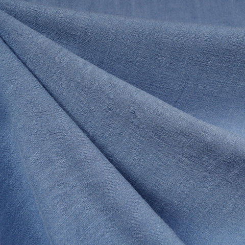 Slub Texture Linen Blend Solid Steel Blue