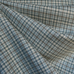 Cozy Cotton Flannel Tiny Check Plaid Aqua/Cream - Fabric - Style Maker Fabrics