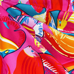Tropical Fish Collage Cotton Red/Pink - Fabric - Style Maker Fabrics