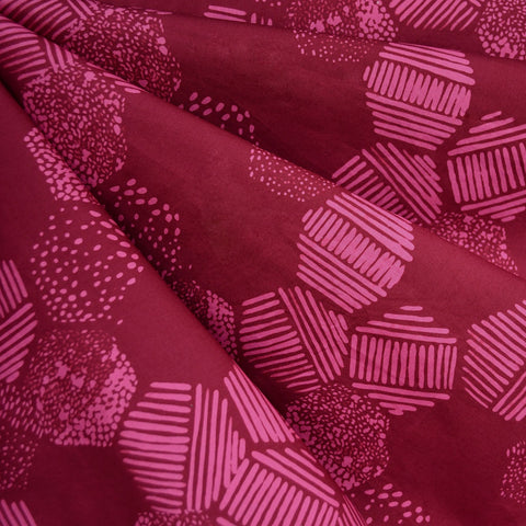 Handcrafted Cotton Batik Hexagon Tiles Magenta