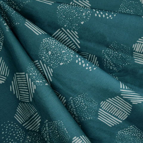 Handcrafted Cotton Batik Hexagon Tiles Teal