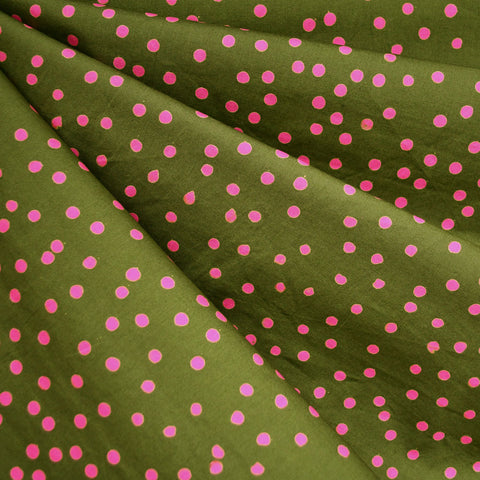 Handcrafted Cotton Scatter Dot Olive