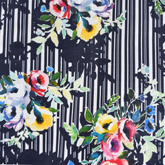 Japanese Watercolor Floral Digital Mix Print Cotton Lawn Navy SY - Sold Out - Style Maker Fabrics