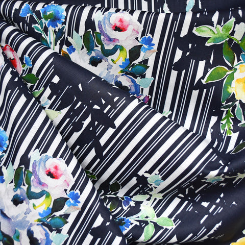 Japanese Watercolor Floral Digital Mix Print Cotton Lawn Navy