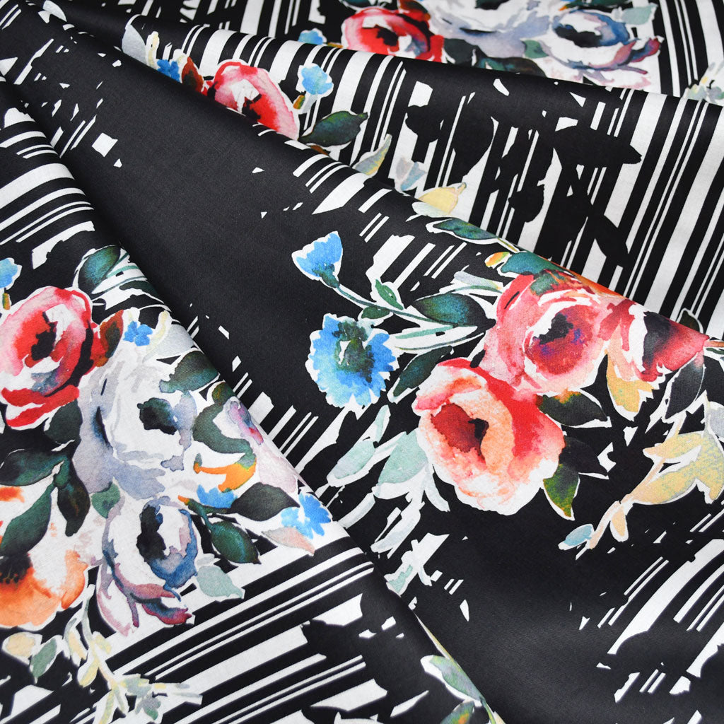 Japanese Watercolor Floral Digital Mix Print Cotton Lawn Black - Fabric - Style Maker Fabrics