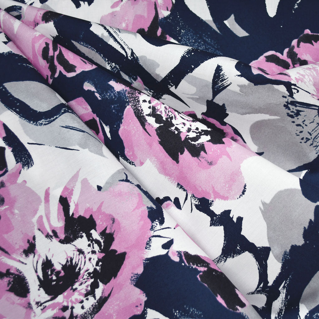 Japanese Abstract Watercolor Floral Lawn Navy/Orchid - Fabric - Style Maker Fabrics