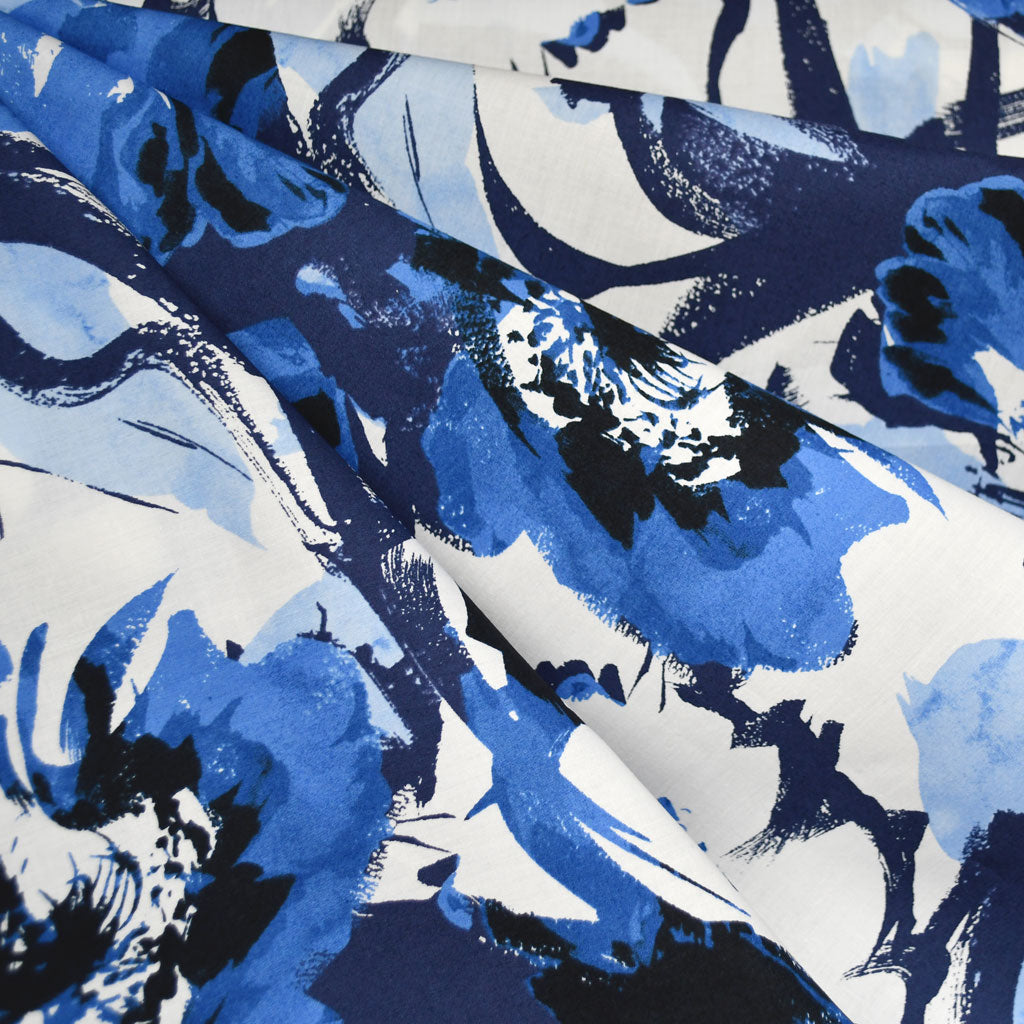Japanese Abstract Watercolor Floral Lawn Navy/Royal - Fabric - Style Maker Fabrics