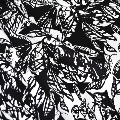 Japanese Sketch Leaves Cotton Rayon Lawn Black/White