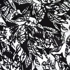 Japanese Sketch Leaves Cotton Rayon Lawn Black/White - Fabric - Style Maker Fabrics