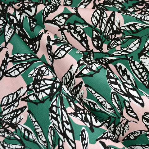 Japanese Sketch Leaves Cotton Rayon Lawn Emerald/Blush