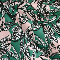 Japanese Sketch Leaves Cotton Rayon Lawn Emerald/Blush - Fabric - Style Maker Fabrics