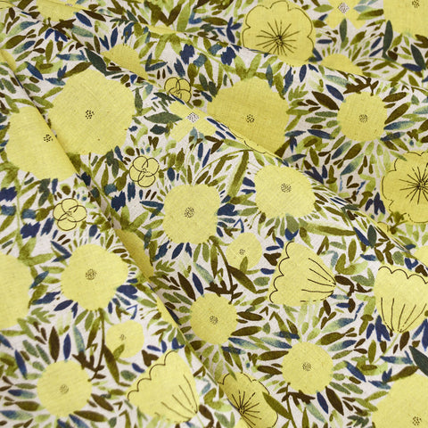 Japanese Watercolor Floral Linen Blend Shirting Yellow