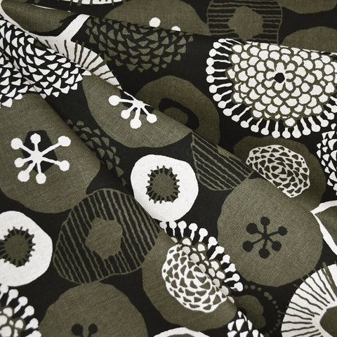 Japanese Abstract Modern Floral Canvas Olive