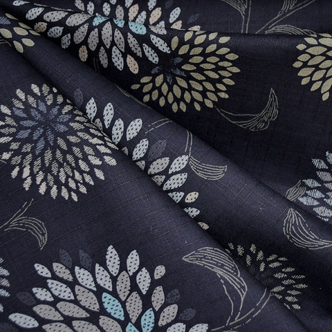 Japanese Dobby Texture Cotton Burst Floral Navy
