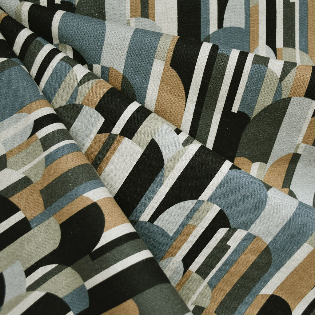 Japanese Mod Stripe Canvas Black/Olive SY - Sold Out - Style Maker Fabrics