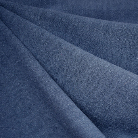 Slub Texture Linen Blend Solid Dark Denim
