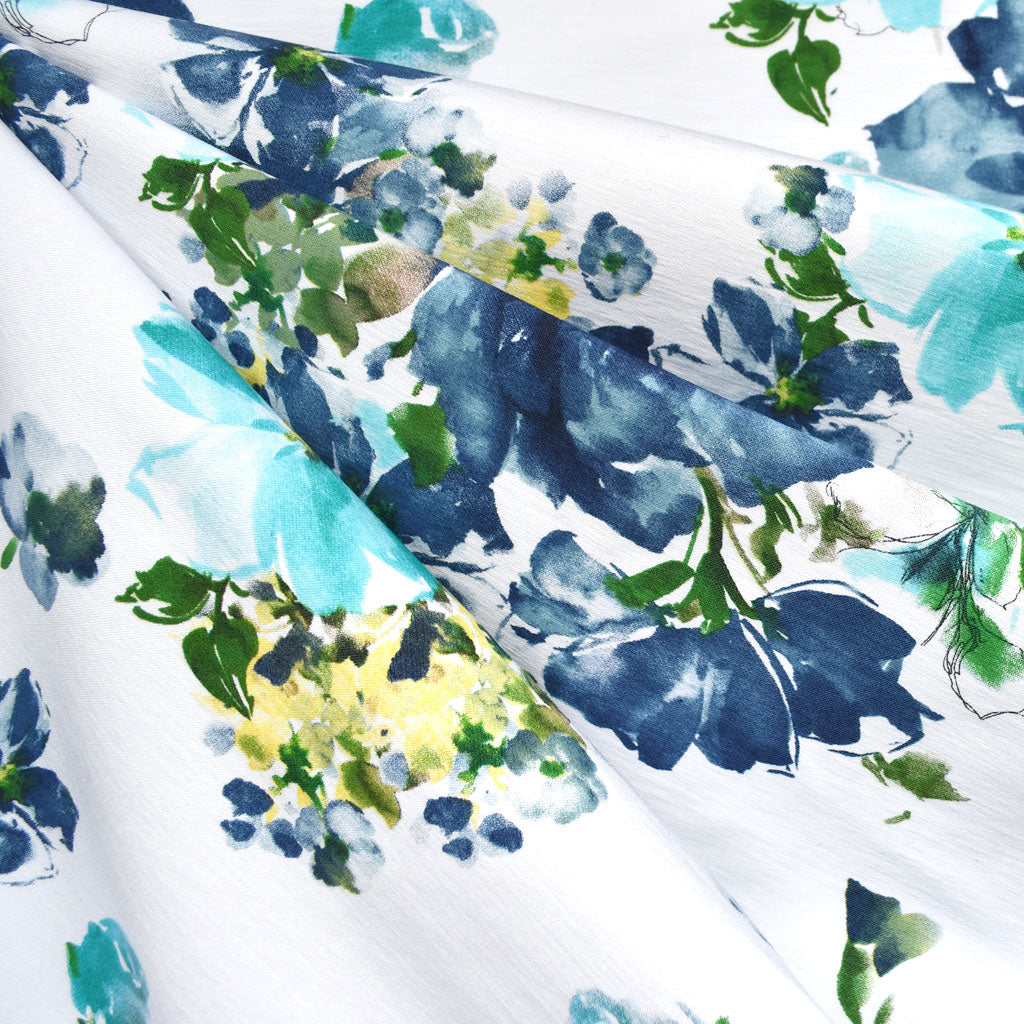 Watercolor Floral Super Stretch Denim White/Blue - Fabric - Style Maker Fabrics